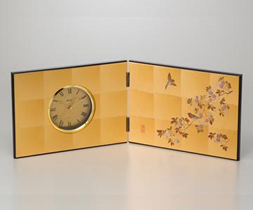 《金箔 箔一》花見鳥 屏風時計