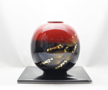 《輪島塗》花器 丸型「雅松」