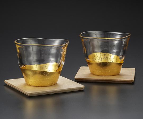 《金箔 箔一》貫入 冷茶椀&コースター2個