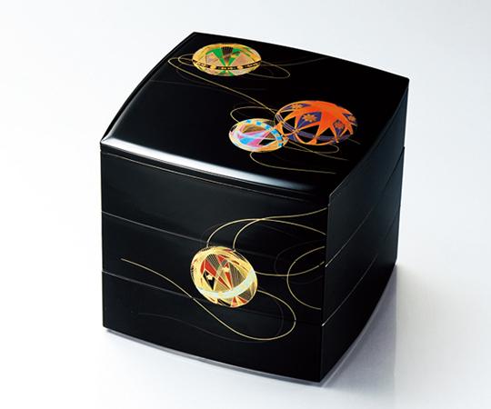 《山中塗 北市漆器店》彩光てまり6.5胴張三段重(黒)