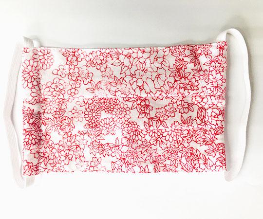 《北市漆器店》手染め加賀友禅マスク プリーツ型(赤)