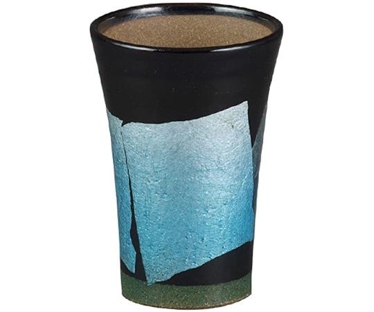 《九谷焼 正峰窯》泡多長ビアカップ(銀彩 青色)