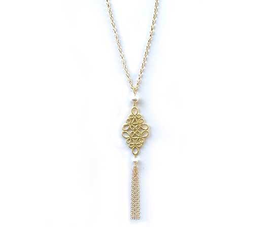 【逸品】<Gold-Knot>フラジオレット 淡水真珠(白) ペンダント