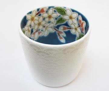 《九谷焼 青郊窯》ロックグラス(桜)