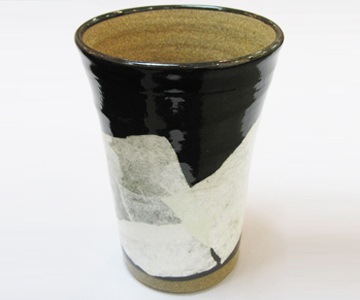 《九谷焼 正峰窯》泡多長ビアカップ(銀彩 クリアー)