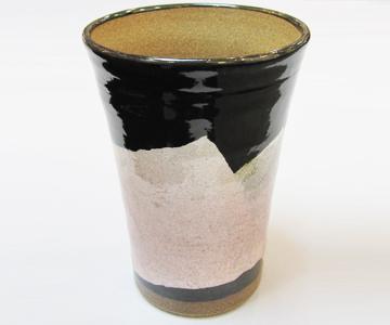 《九谷焼 正峰窯》泡多長ビアカップ(銀彩 京紫色)