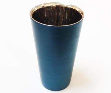 《漆磨(シーマ)》 カップ 二重ストレートパール(青)
