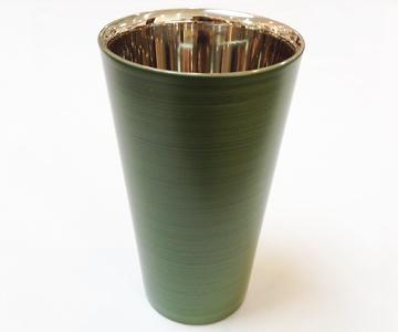 《漆磨(シーマ)》カップ 二重ストレートパール (緑)